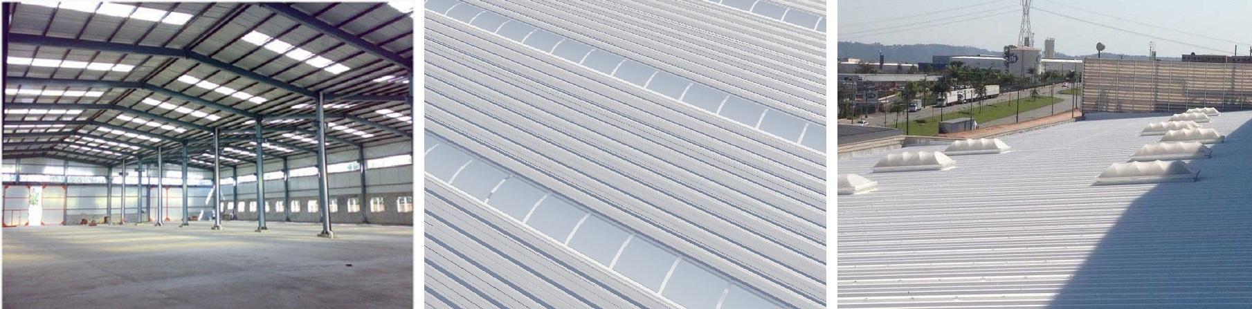 Claraboia e telhas translucidas