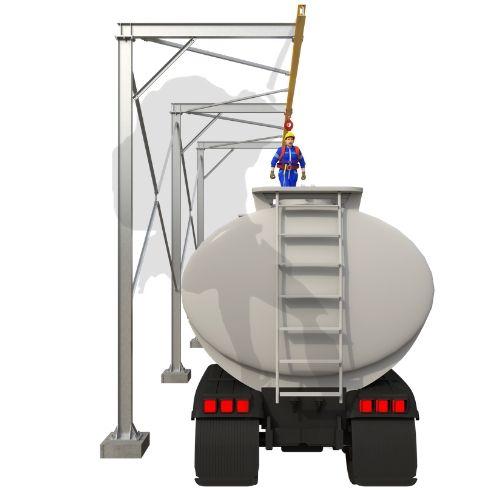 linha de vida para trabalho sobre a carroceria do caminhão