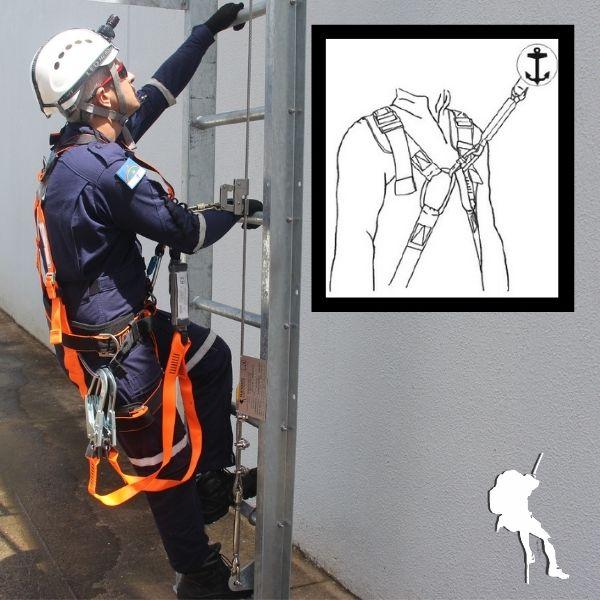 Cinto de segurança para linha de vida na escada marinheiro