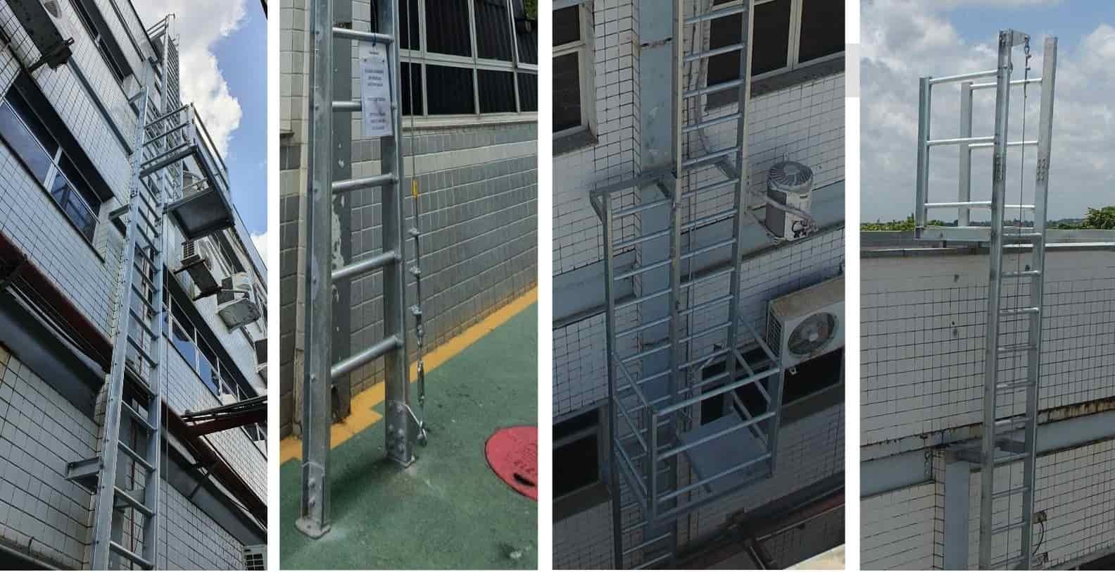 Escada marinheiro sem gaiola de proteção